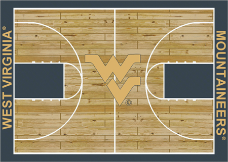 West Virginia Mountaineers College Basketball Court Rug