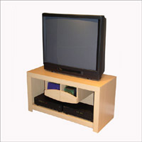 4D Concepts Large TV Stand w/2 Pullout CD/DVD Racks/Beech Laminate
