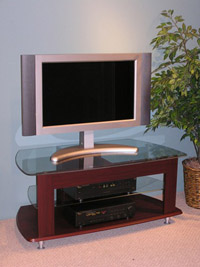 4D Concepts TV Entertainment Stand/Cherry Laminate Glass