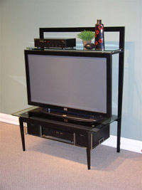 4D Concepts Entertainment Stand/Black Metal Glass
