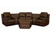 Home Theater Seating Curved Row of 4 Brown