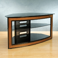Versatile Wood Trim Corner-Fit Audio Video Furniture System