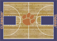 Clemson Tigers College Basketball Court Rug