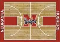 Nebraska Huskers College Basketball Court Rug