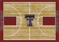 Texas Tech Red Raiders College Baskeball Court Rug