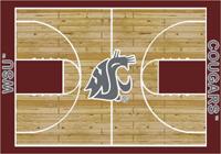Washington State Cougars College Basketball Court Rug