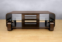 Espresso Finish Bent Wood Audio Video Cabinet