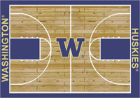 Washington Huskies College Basketball Court Rug