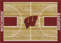 Wisconsin Badgers College Basketball Court Rug