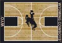 Wyoming Cowboys College Basketball Court Rug
