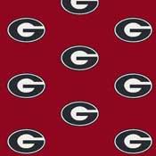 Georgia Bulldogs College Team Logo Rug (repeated logo)