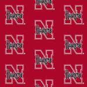 Nebraska Huskers College Team Logo Rug (repeated logo)
