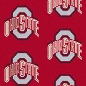 Ohio State Buckeyes College Team Logo Rug (repeated logo)